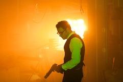 """Seth Rogen, framed by light, """"The Green Hornet"""" November 20, 2009"""