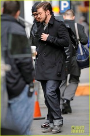 "Justin Timberlake dons distinctive hairstyle for his newest movie ""Inside Llewyn Davis"" in New York City"