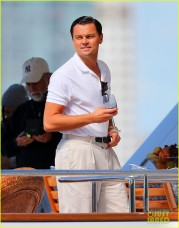 Leonardo DiCaprio courts two hot blondes on a yacht on location for 'Wolf of Wall St.' with Martin Scorcese