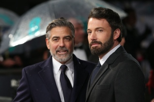 George Clooney and Ben Affleck arrive at the 2013 BAFTA Awards, held at the Royal Opera House in London