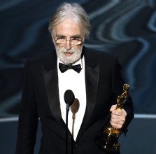 Michael Haneke picks up his award for best foreign film