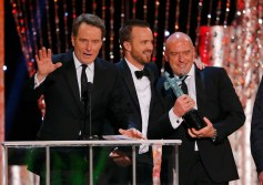 "Actor Bryan Cranston accepts the award for Outstanding Performance by an Ensemble in a Drama Series for ""Breaking Bad"" at the 20th annual Screen Actors Guild Awards in Los Angeles"