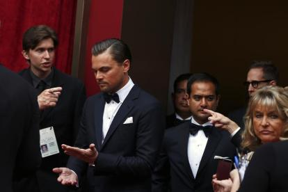 """Leonardo DiCaprio, best actor nominee for his role in """"The Wolf of Wall Street"""" arrives at the 86th Academy Awards in Hollywood, California"""