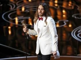 """Leto, best supporting actor winner for his role in """"Dallas Buyers Club"""", speaks on stage at the 86th Academy Awards in Hollywood"""