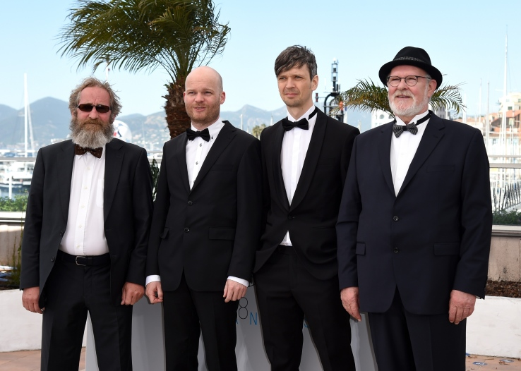 "CANNES, FRANCE - MAY 15:  (L-R) Actor Sigurdur Sigurjonsson, director Grimur Hakonarson, cinematographer Sturla Brandth Grovlen, and actor Theodor Juliusson attend a photocall for ""Hrutar - Beliers - Rams"" during the 68th annual Cannes Film Festival on May 15, 2015 in Cannes, France.  (Photo by Ben A. Pruchnie/Getty Images)"