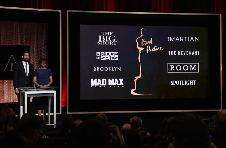 A screen showing the Oscar nominees for Best Picture as announced by actor John Krasinski and Academy President Cheryl Boone Isaacs during the Academy Awards Nominations Announcement  on Thursday. The 88th Oscars will be held on Feb. 28