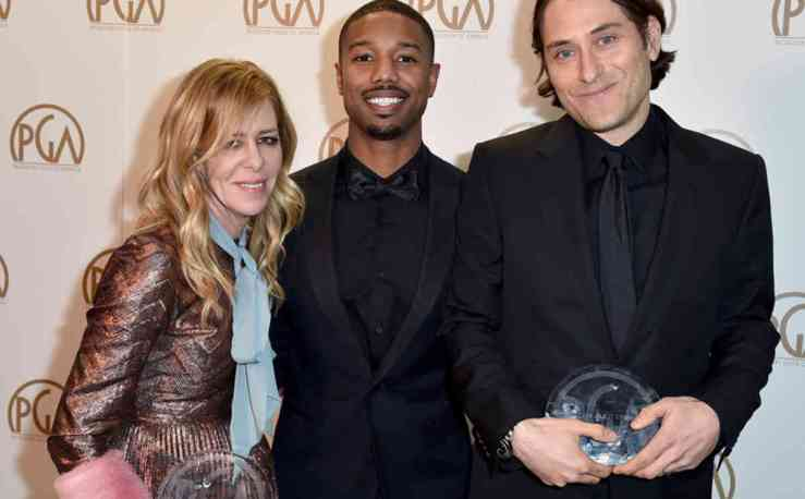 """EXCLUSIVE -Dede Gardner, left, Michael B. Jordan, and Jeremy Kleiner pose with the Darryl F. Zanuck award for outstanding producer of theatrical motion picture for """"The Big Short"""" at the 27th annual Producers Guild Awards at the Hyatt Regency Century Plaza on Saturday, Jan. 23, 2016, in Los Angeles. (Photo by Jordan Strauss/Invision for Producers Guild of America/AP Images)"""