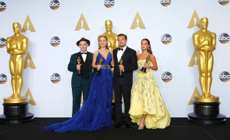 Rylance, Larson, DiCaprio and Vikander pose during the 88th Academy Awards in Hollywood