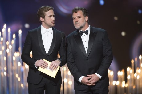 Ryan Gosling & Russel Crowe during the 88th Academy Awards.