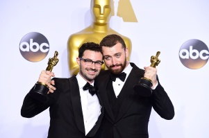 Sam Smith (right) and Jimmy Napes (left) with the Academy Awards for Best Original Song in the press room of the 88th Academy Awards held at the Dolby Theatre in Hollywood, Los Angeles, CA, USA, February 28, 2016.