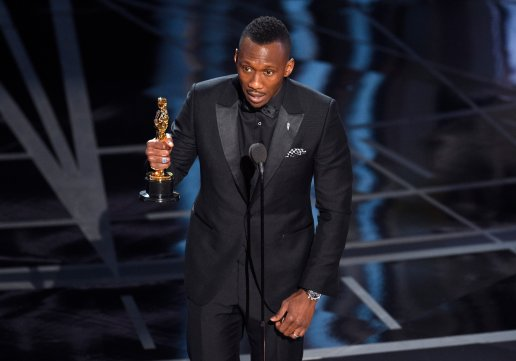 "Mahershala Ali accepts the award for best actor in a supporting role for ""Moonlight"" at the Oscars on Sunday, Feb. 26, 2017, at the Dolby Theatre in Los Angeles. (Photo by Chris Pizzello/Invision/AP)"