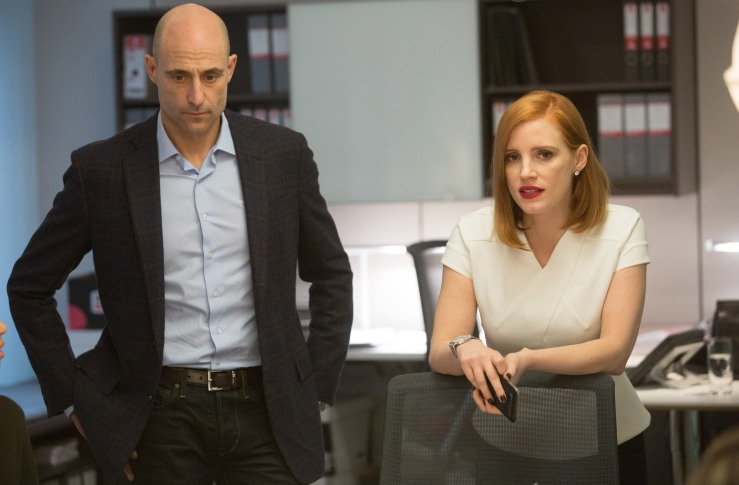 "M119 (Left to right.) Mark Strong and Jessica Chastain star in EuropaCorp's ""Miss Sloane"". Photo Credit: Kerry Hayes © 2016 EuropaCorp Ð France 2 Cinema"