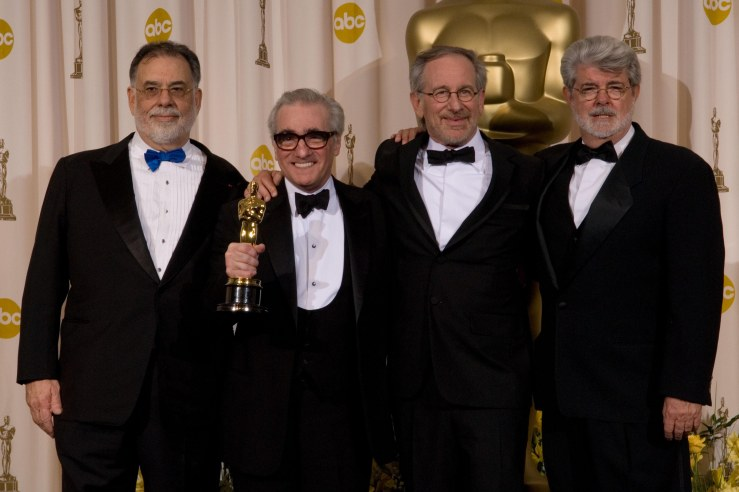 Academy Award winner for Achievement in Directing Martin Scorsese (second from left) pose with directors Francis Ford Coppola, Steven Spielberg and George Lucas at the 79th Annual Academy Awards at the Kodak Theatre in Hollywood, CA, on Sunday, February 25, 2007.