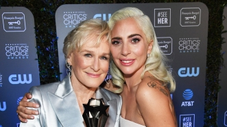 SANTA MONICA, CA - JANUARY 13: Glenn Close (L), winner of Best Actress for 'The Wife,' and Lady Gaga, winner of Best Actress for 'A Star Is Born,' attend the 24th annual Critics' Choice Awards at Barker Hangar on January 13, 2019 in Santa Monica, California. (Photo by Kevin Mazur/Getty Images for The Critics' Choice Awards)