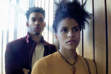 Melvin Gregg as Erick Scott and Zazie Beetz as Sam in High Flying Bird, directed by Steven Soderbergh.Photo by Peter Andrews